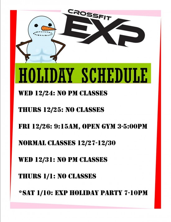 EXP XMASS SCHEDULE 2014